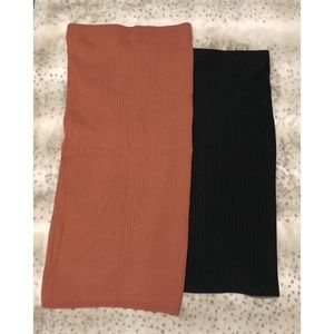 2 Ribbed Pencil Skirts